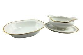 2 Pcs Vtg Haviland Limoges Gravy & Attached Underplate Veg Bowl White Gold Band  - $39.59