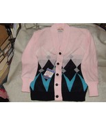 1950s Vintage Girl's Argyle Pink Sweater by Campus Pure Virgin Orlon New... - $125.00