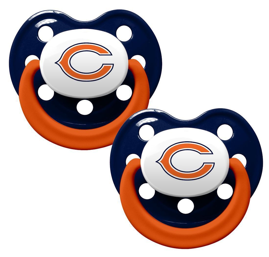 CHICAGO BEARS 2-PACK BABY INFANT ORTHODONTIC PACIFIER SET NFL FOOTBALL