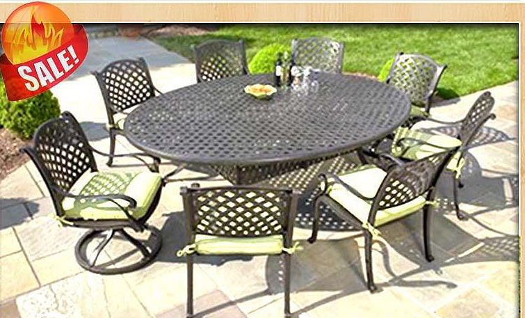 CAST ALUMINUM OUTDOOR PATIO 9PC SET 8-DINING CHAIRS ROUND EGG TABLE