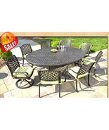 CAST ALUMINUM OUTDOOR PATIO 9PC SET 8-DINING CHAIRS ROUND EGG TABLE - $2,767.05