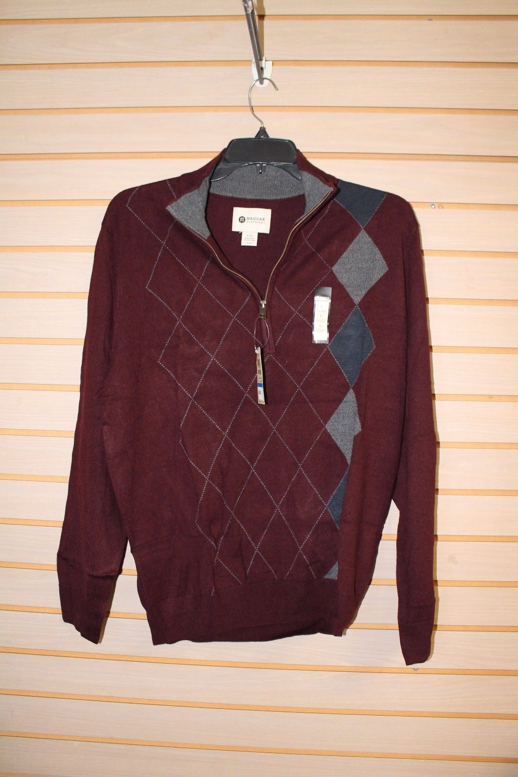 NEW MENS SIZE LARGE L 42-44 HAGGAR 1/4 ZIP DARK RED ARGYLE SWEATER LONGSLEEVE