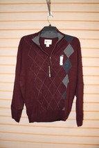 NEW MENS SIZE LARGE L 42-44 HAGGAR 1/4 ZIP DARK RED ARGYLE SWEATER LONGS... - $19.34