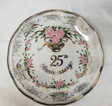 Wedding Anniversary Plate: GZ Lefton 25th Anniversary, Clear Glass, Pink... - $12.59
