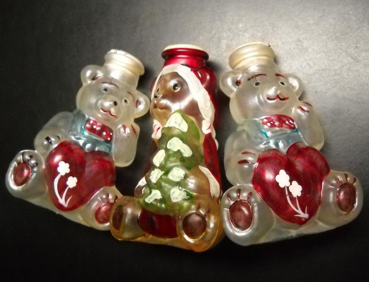 Old World Christmas Christmas Tree Glass Light Bulb Covers Lot 04 Three Bears - $19.99