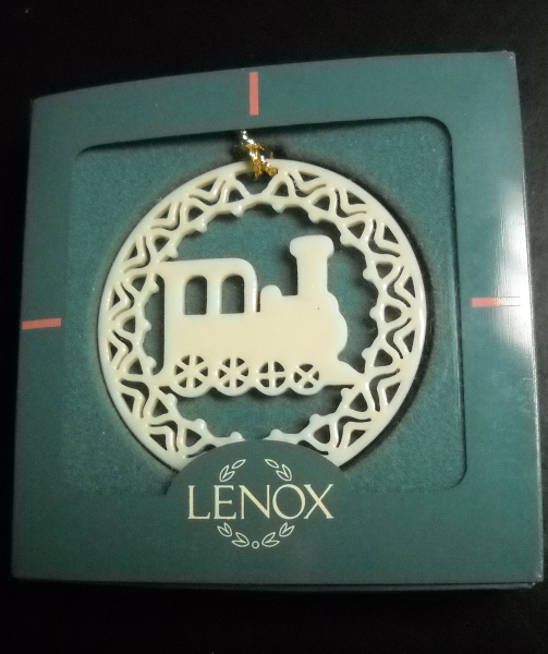 Lenox Christmas Ornament Yuletide Loco Pierced Porcelian with Gold Cord Boxed