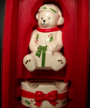 Lenox Holiday Sitting Teddy Holding Present Stackable Salt and Pepper Sh... - $12.99