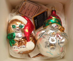 Potpourri Christmas Ornament 1996 Kitten Snowman European Art Glass Dillards Box - $18.99
