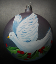 Pier 1 Christmas Ornament 2005 European Glass Mouth Blown Hand Painted Dove Box - $10.99