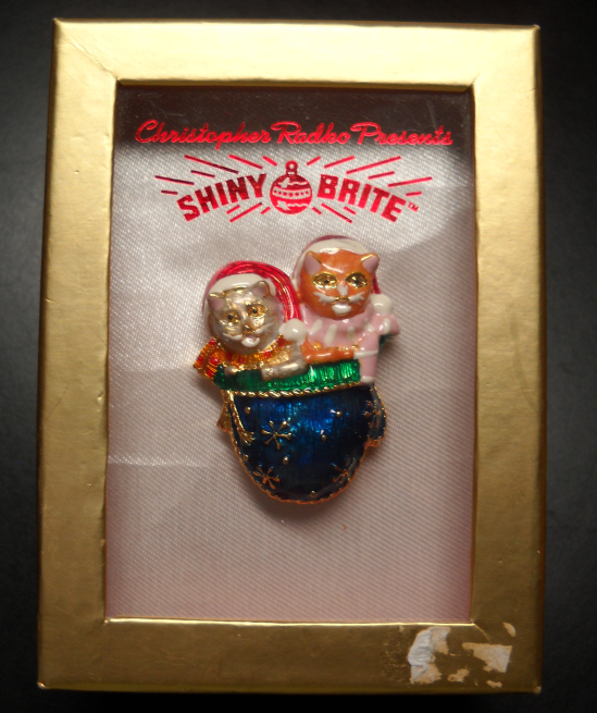 Primary image for Christopher Radko Shiny Brite Pin 2 Kittens in Santa Caps in Blue Mitten Boxed