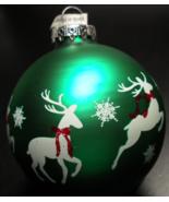 Bronners Christmas Wonderland Christmas Ornament Green Bulb White Reinde... - $8.99