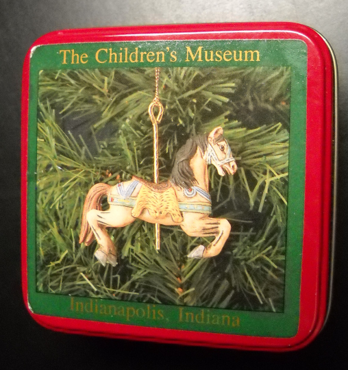 Primary image for Children's Museum Christmas Ornament Porcelain Replica Carousel Horse Metal Box