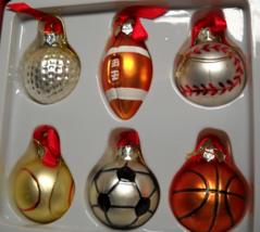 World Market Christmas Ornaments Set of Six Glass Sportsballs Original Box - $11.99