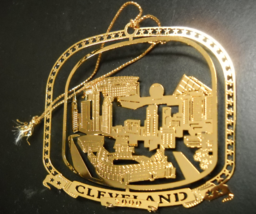 Cleveland 2000 Christmas Ornament Nation's Treasures Gold Finished Brass Boxed - $8.99