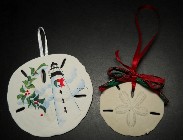 Primary image for Sand Dollar Christmas Ornament Handpainted with Ribbons Box Legend Set of Two