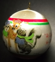 WWA Christmas Ornament 1981 Caroling Animals Designers Collection Satin Boxed - $6.99