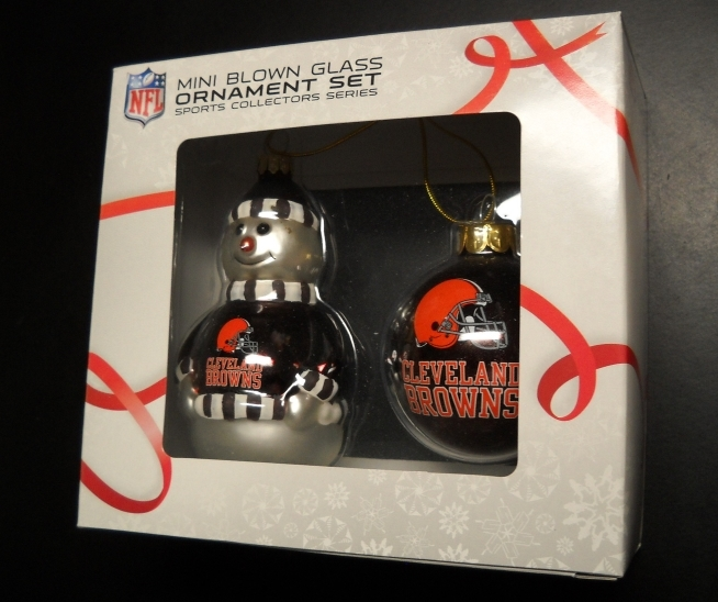 Primary image for Topperscot Christmas Ornament NFL Mini Blown Glass Cleveland Browns Set Boxed