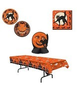 Beistle Vintage Halloween Party Tableware for 8 Plates Napkins Table Cov... - £25.88 GBP