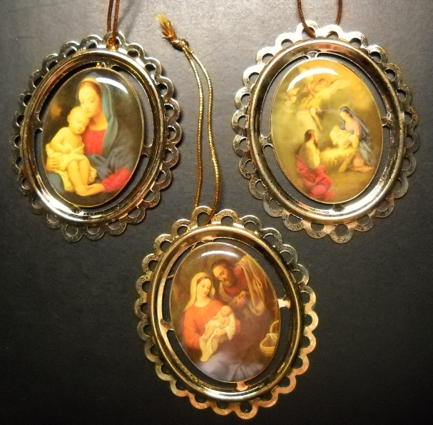Primary image for Priests Of The Sacred Heart Christmas Ornaments 3 Madonna and Child Scenes Boxed