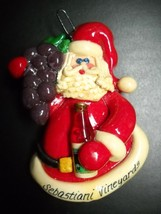 Sebastiani Vineyards Christmas Ornament Santa with Grapes and Wine Calli... - $9.99
