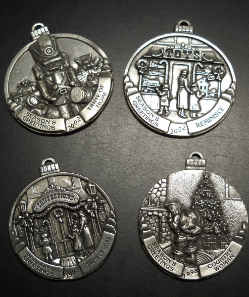 Primary image for Country Woman Taste of Home Christmas Ornaments Set of Four 1998 1999 2002 Metal