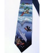 American Lifestyle Ocean Island Tropic SILK Neck Tie Dolphin Sailboat Na... - $36.62