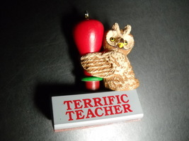 Hallmark Keepsake Ornament 1991 Terrific Teacher Wise Owl on Rubber Stam... - $8.99