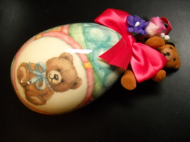 Tomorrow Today 1991 Heritage Collection Decoupage Teddy Egg Patricia Reach Boxed - $10.99