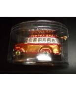 School Bus Mercury Glass Look Ornament Shiny Golds Silvers and Red Glitt... - $7.99