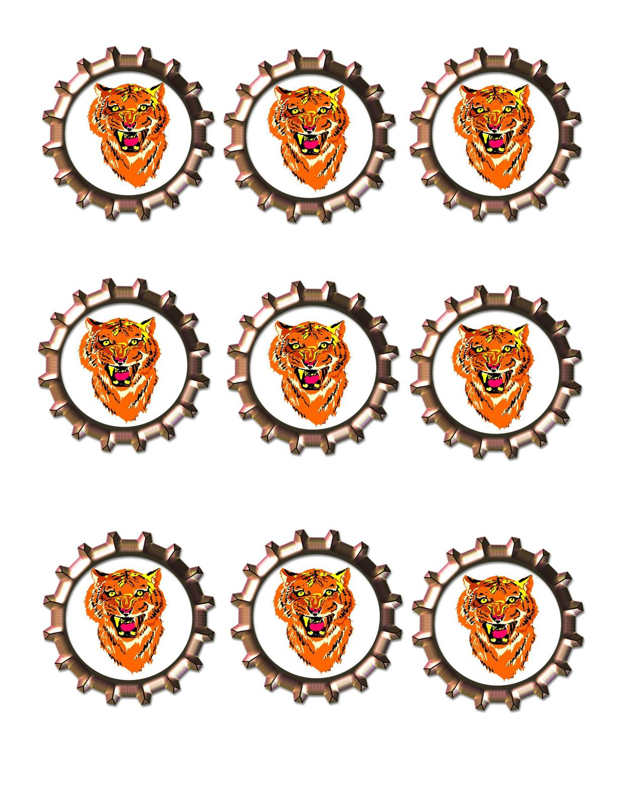 Primary image for Tiger Bottlecap -Download-ClipArt-ArtClip-Bottle Cap-Digital