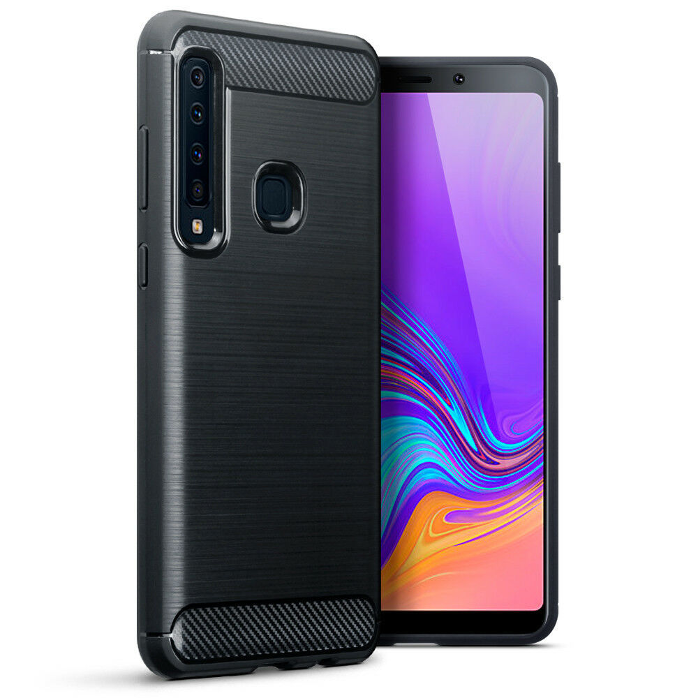 Samsung Galaxy A9 2018 Shockproof Carbon Fiber Fitted Fusion Case Bumper Black - $14.18