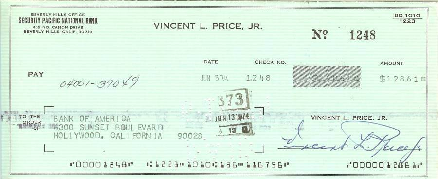 Primary image for vincent price autograph signed check horror movie actor hollywood