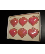 Kurt Adler Santa's World Christmas Ornaments Six Pink Hearts in Original... - $9.99
