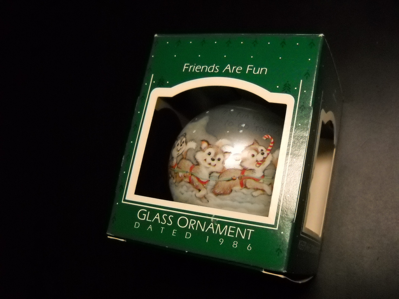 Primary image for Hallmark Keepsake Glass Bulb Ornament 1986 Friends Are Fun Eskimos and Sled Dogs