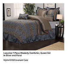 7-Piece Luxurious Comforter Set, Queen, Westerly in Silver/Floral - £77.53 GBP