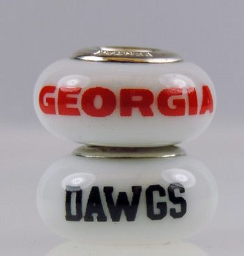 Primary image for Fenton Milk Glass Collegiate Bead Georgia Dawgs Sterling Silver Charm NCAA N