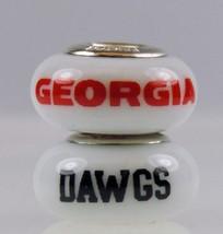 Fenton Milk Glass Collegiate Bead Georgia Dawgs Sterling Silver Charm NC... - $35.00