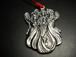 Wallace Silversmith Christmas Ornament Three Angels Pewter Mini Ornament... - $12.99