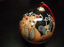 Lang Christmas Ornament Glass Bulb Folk Bears Homemade Bears on Black Gl... - $8.99