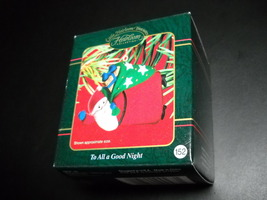 Carlton Cards Heirloom Ornament 2002 To All A Good Night Flocked Santa a... - $7.99