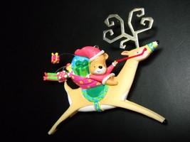 Carlton Cards Heirloom Ornament 2002 Bear Mail Whimsical Reindeer Metal Antlers - $10.99
