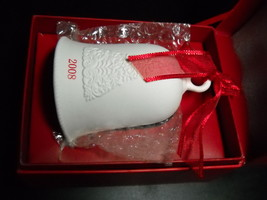 Hallmark Bell 2008 Porcelain 2008 Dated Bell Christmas Ornament Boxed Red White - $7.99