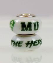 Fenton Milk Glass Collegiate Bead Marshal Sterling Silver The Heard Charm N - $35.00