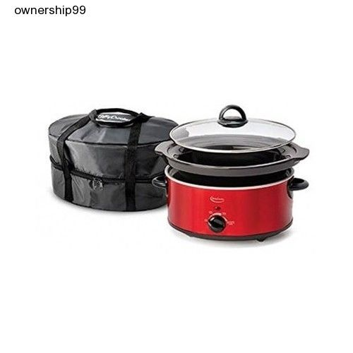 Red Slow Cooker Crock Pot 5 Quart Oval Thermal Travel Bag Manual Cook Carry Qt