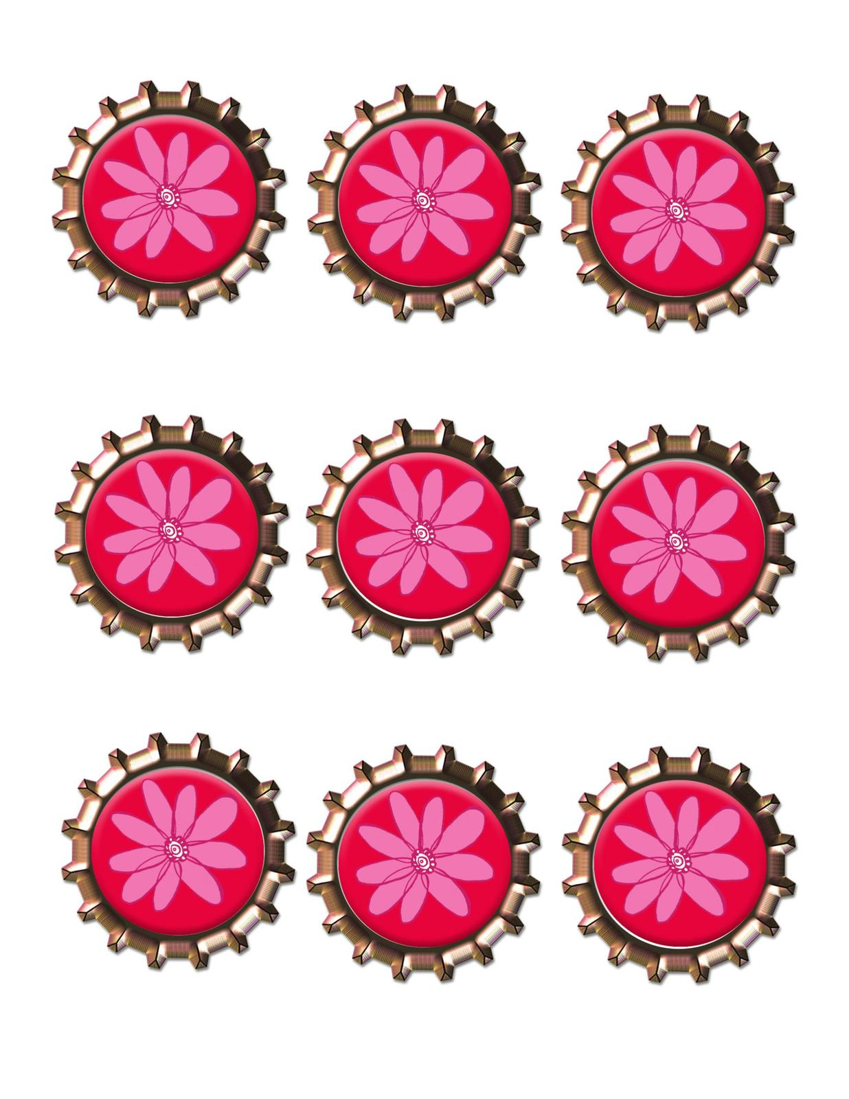 Primary image for Pink Flower Bottlecap -Download-ClipArt-ArtClip-Bottle Cap-Digital