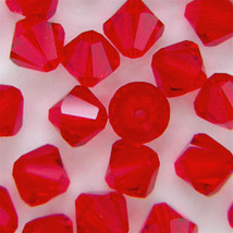6mm Light Siam Swarovski Crystal Xilion Beads 5328 ( 72 ) ruby red bicones - $12.00