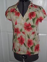 Caribbean Joe Knit Top Shirt Size S Beige Floral Msrp: $34.00 Nwt - $16.98