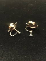 Vintage 50s golden rose screw back earrings image 3