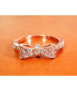 Brilliant CZ Rose Gold Plated Bow Ring  - $12.50