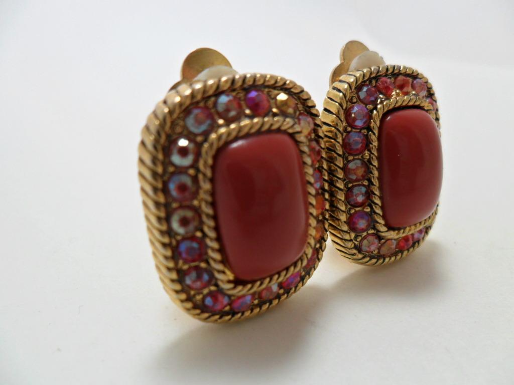 Vintage Earrings Maroon Cabochon Aurora Borealis AB Rhinestones Clip On 1960s